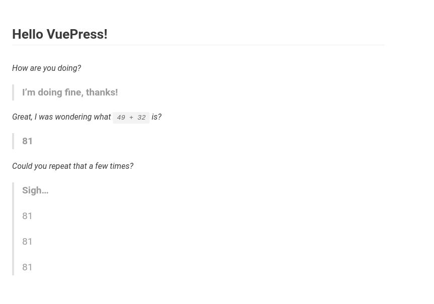 The default VuePress look, with no sidebar or navbar.