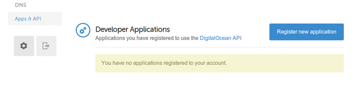 DigitalOcean developer applications section