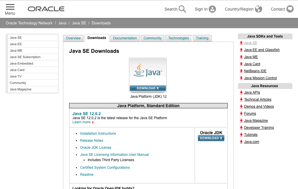 the Oracle Java downloads webpage