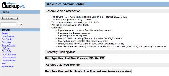 BackupPC main page