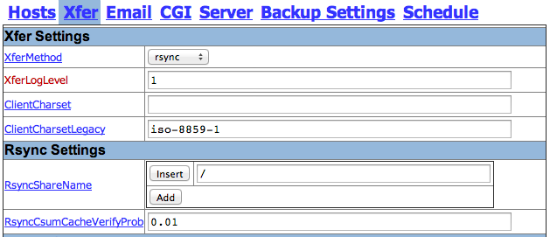 BackupPC rsync settings