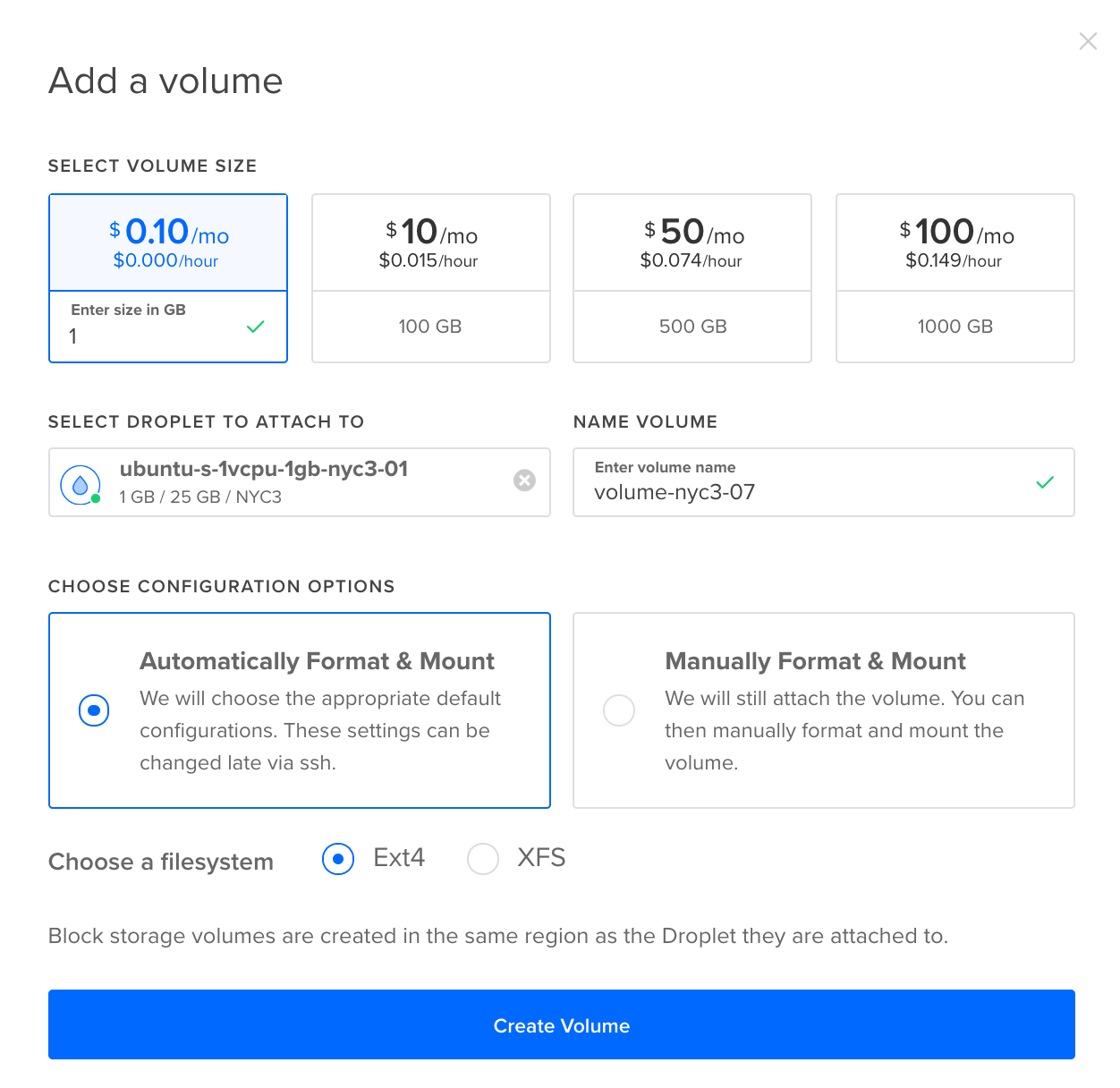 DigitalOcean Control Panel view of setting up volumes