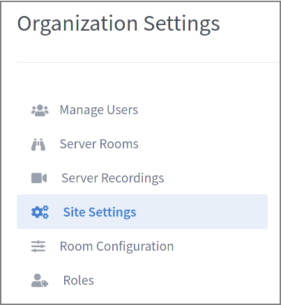 Image showing the organization settings navigation panel with site settings highlighted