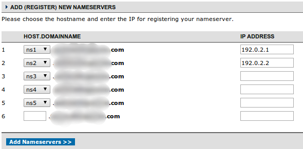 NameCheap internal name server