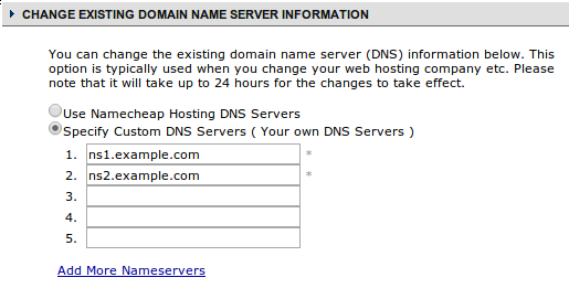 NameCheap use name servers