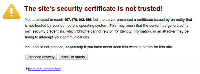 SSL non-trust warning