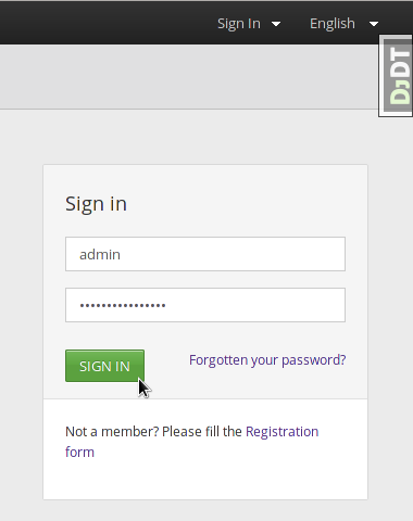 Booktype login dialog