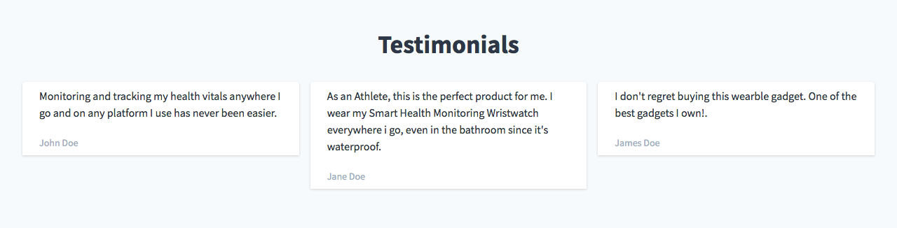 Image of Testimonials section, with three customer testimonials