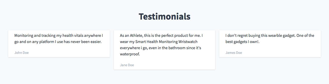Image of Testimonials section, with three customer testimonials