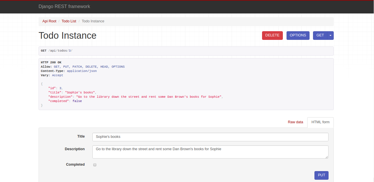 Screenshot of API tools for DELETE and PUT.