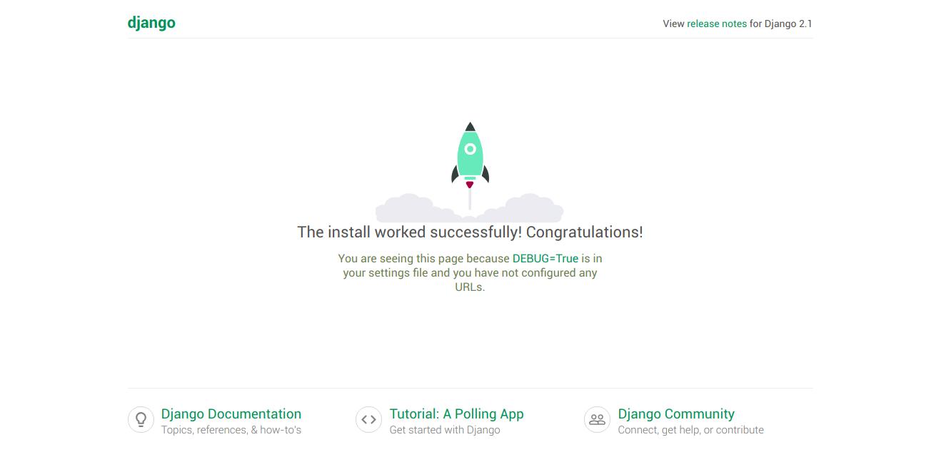 Screenshot of the default Django application running successfully.