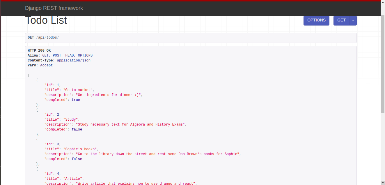 Screenshot of the API results for the Todo items.