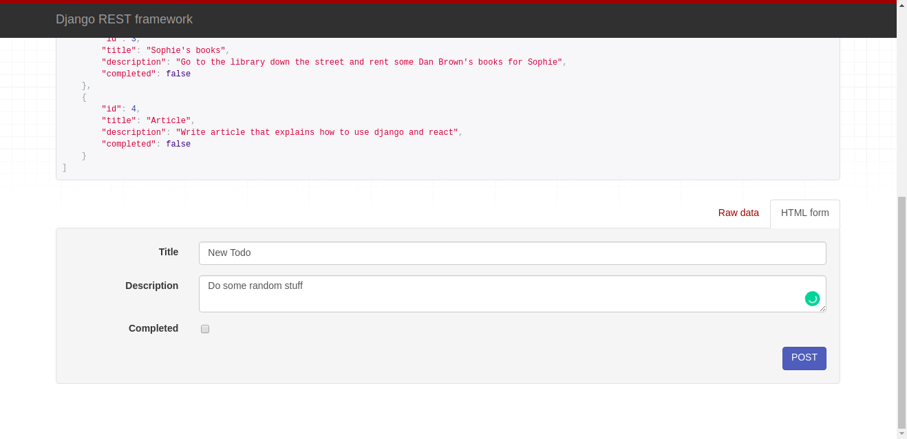 Screenshot of the API tool for creating new Todo items.