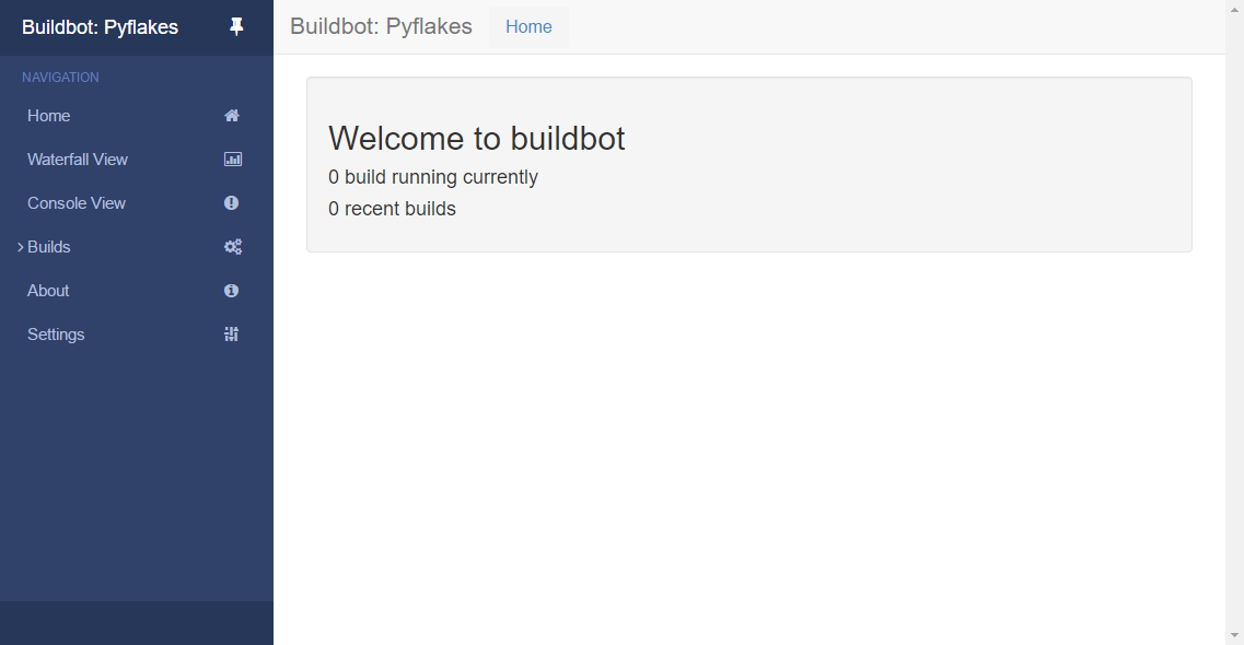Screenshot of Buildbot's Welcome screen