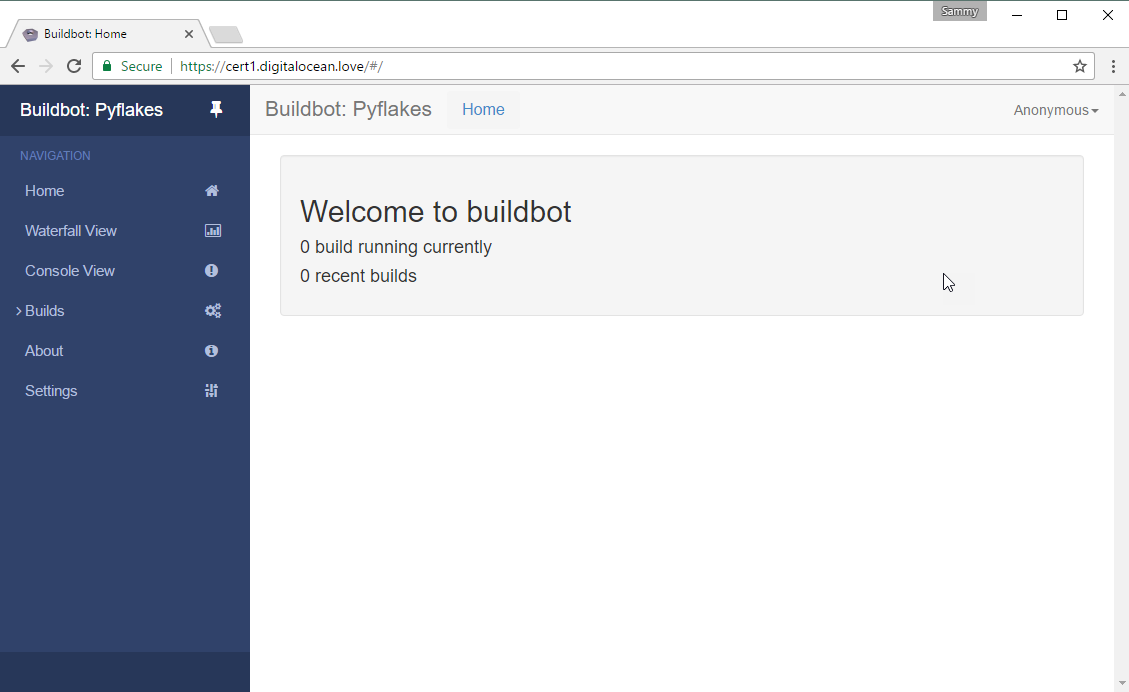 Screenshot of Buildbot home page with secure URL