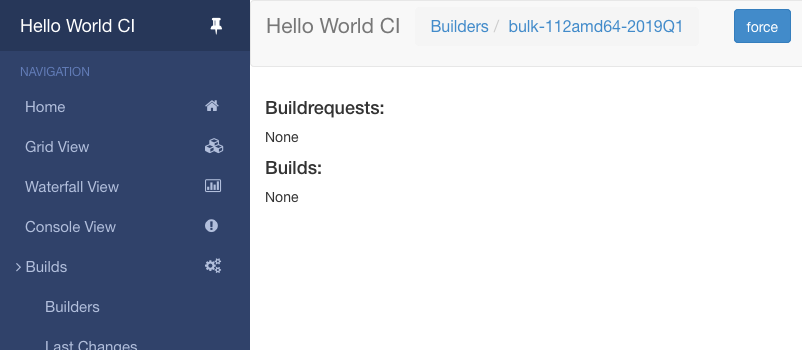 Bulk builder page – no builds yet