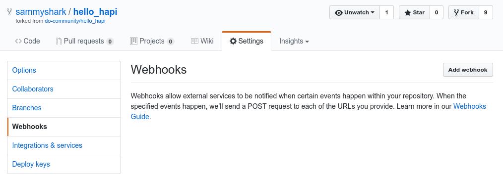 GitHub webhooks initial page