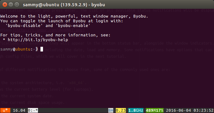 Byobu enabled prompt