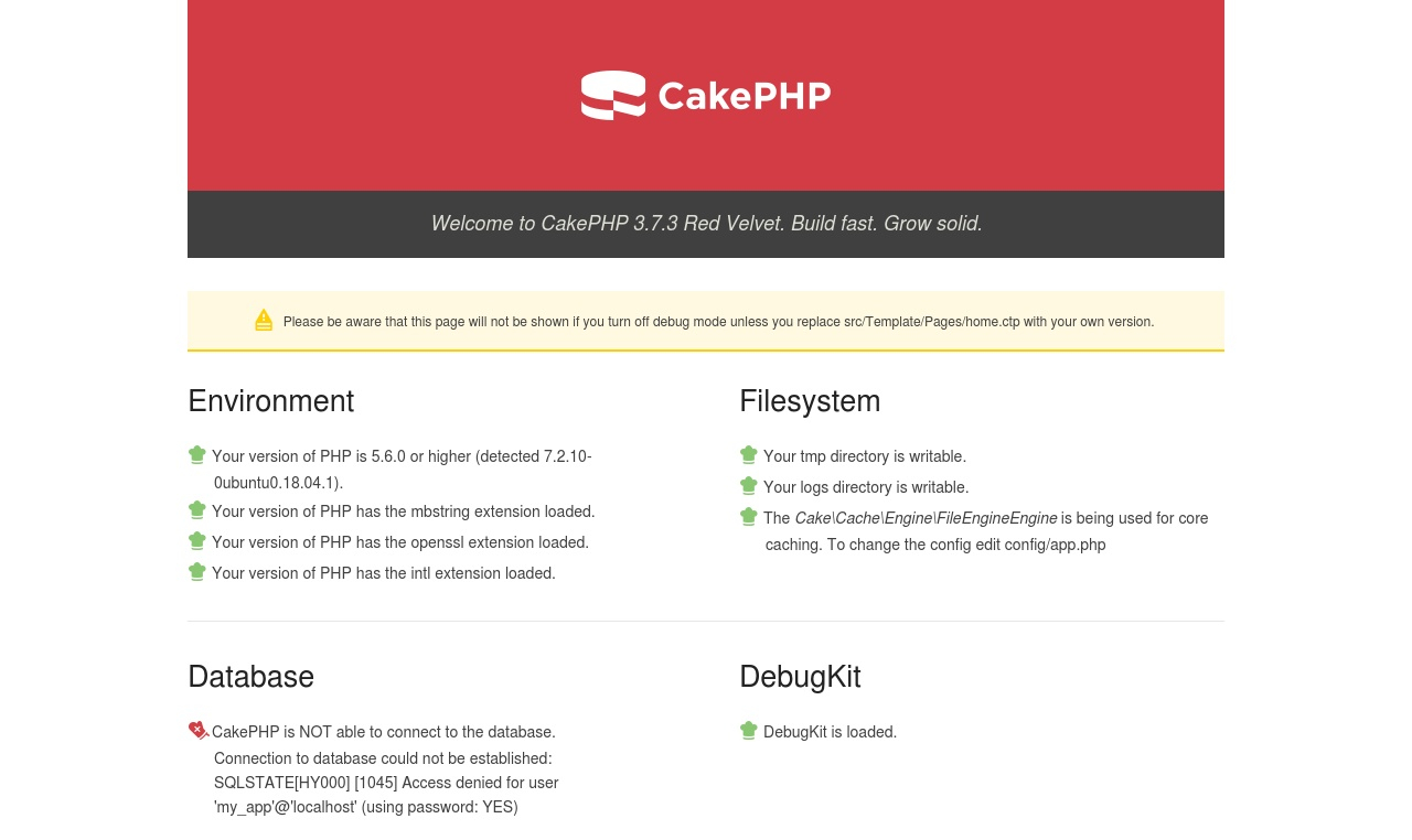 CakePHP can't connect to the database