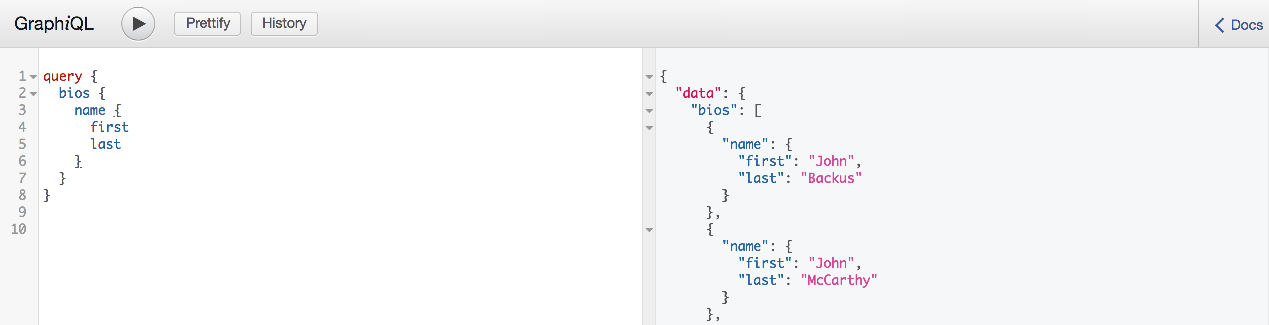The GraphiQL playground in action