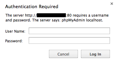 phpMyAdmin login prompt
