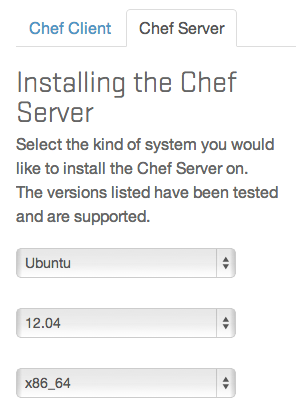 Chef server select operating system