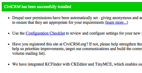 Drupal CiviCRM installation success