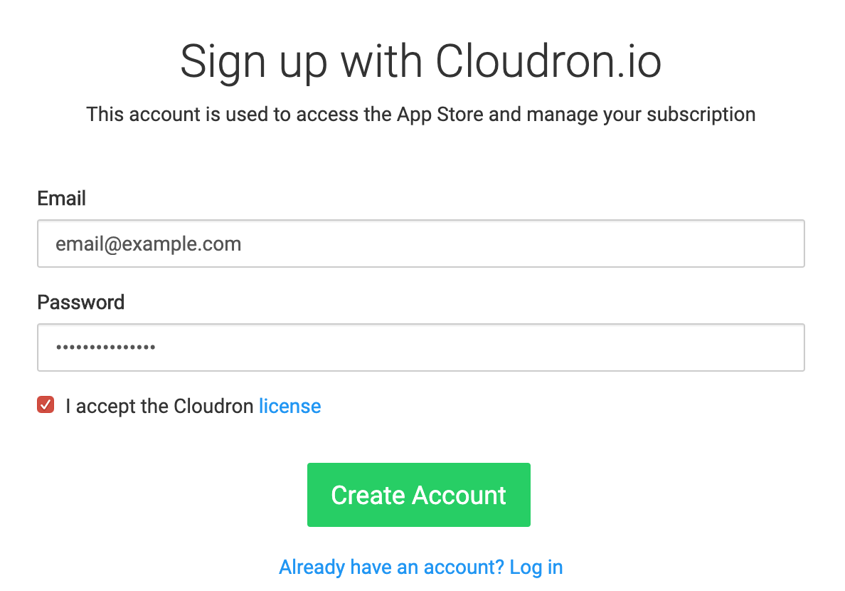 Create cloudron.io account