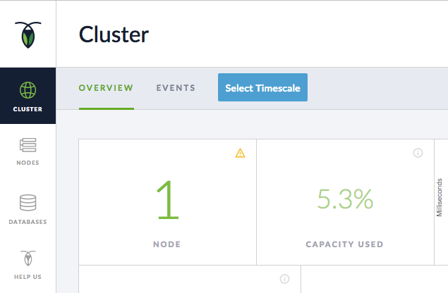 CockroachDB Admin UI showing a cluster running 1 node