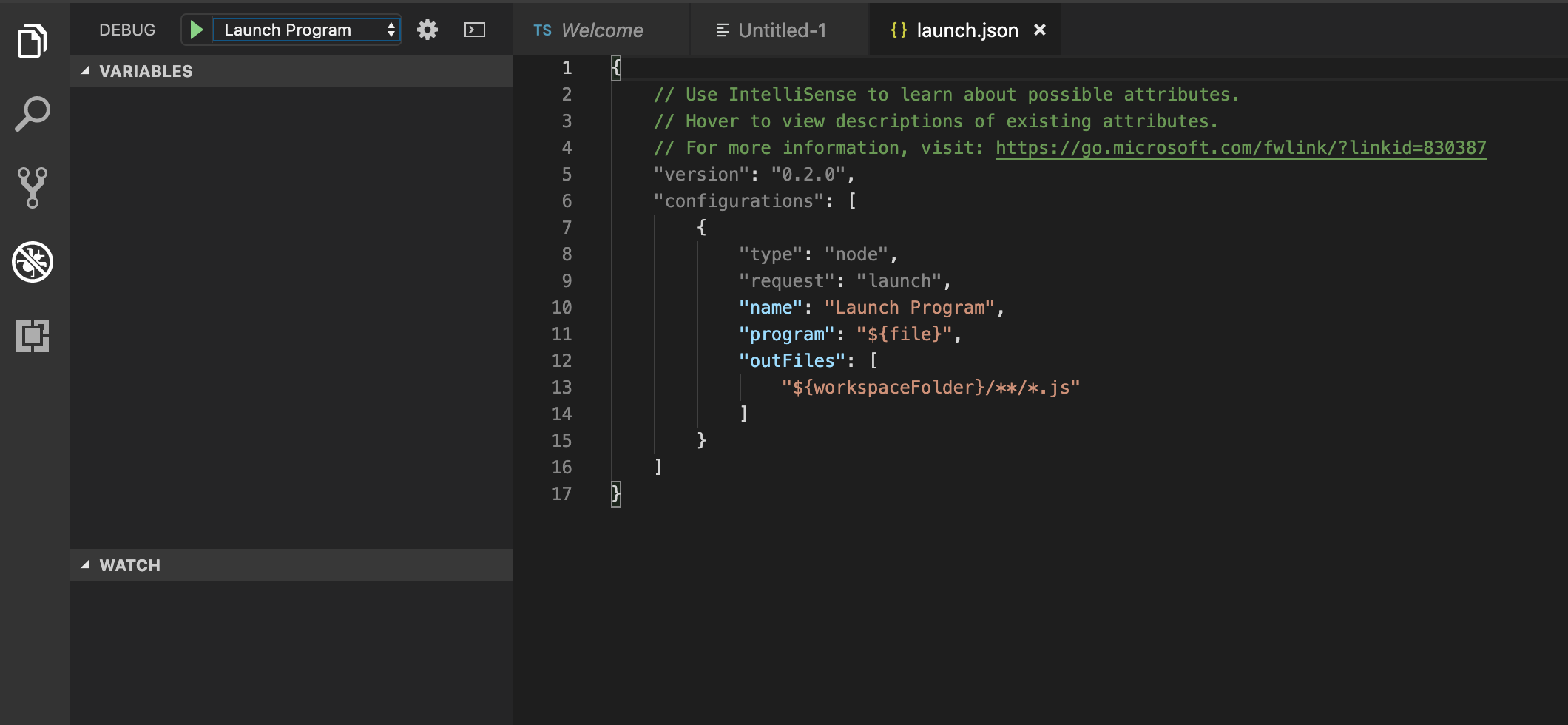 Debugger View with launch.json open