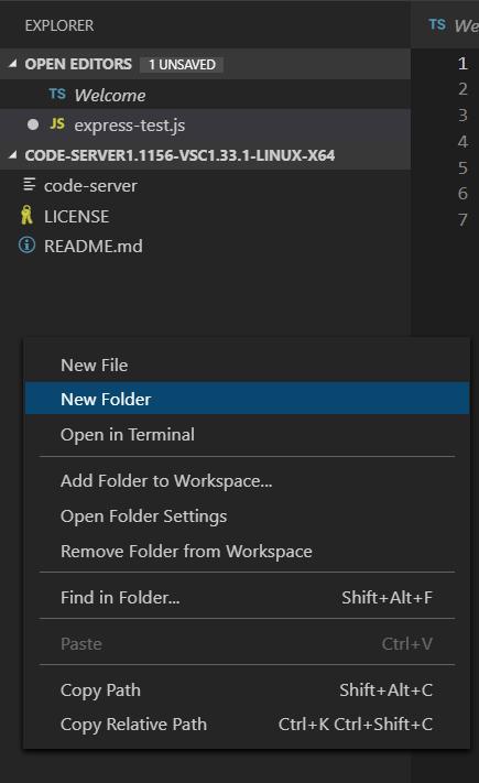 code-server GUI - New Folder