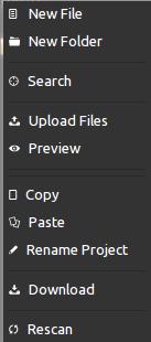 Codiad context menu
