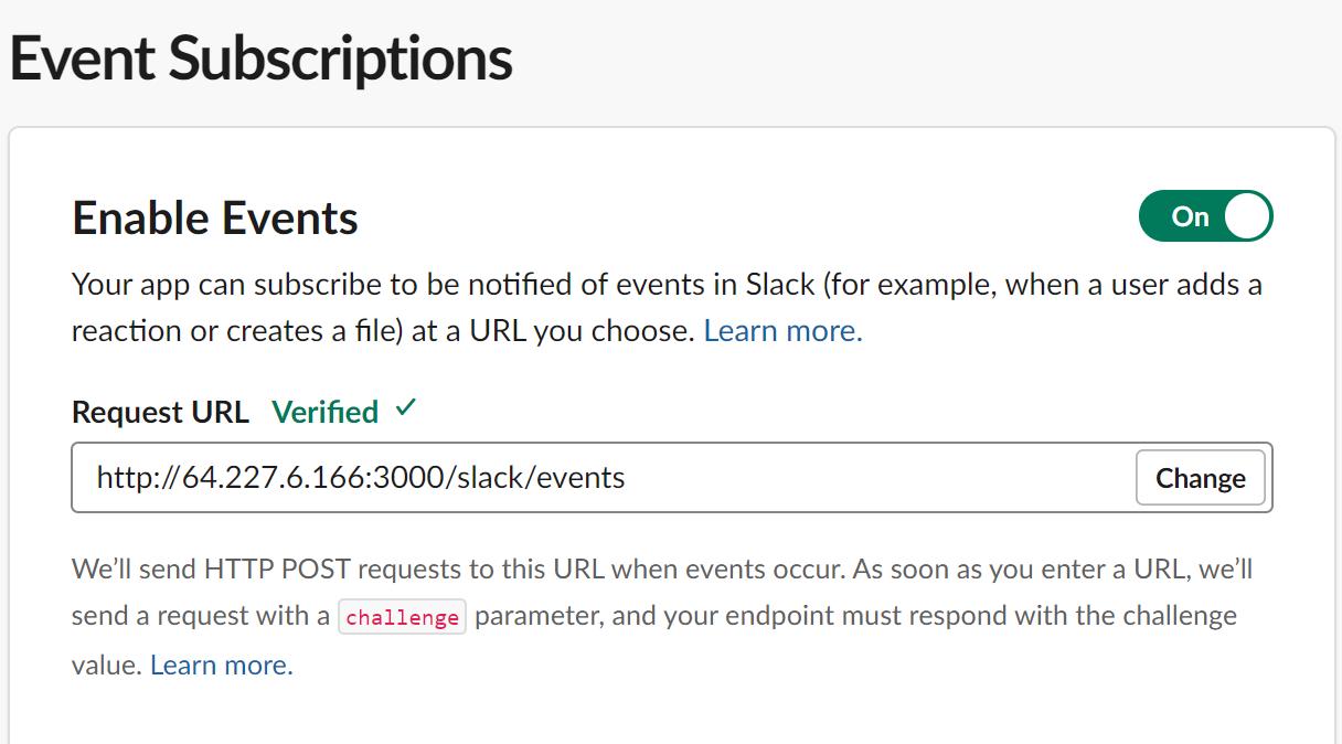URL de solicitud a suscripciones de eventos