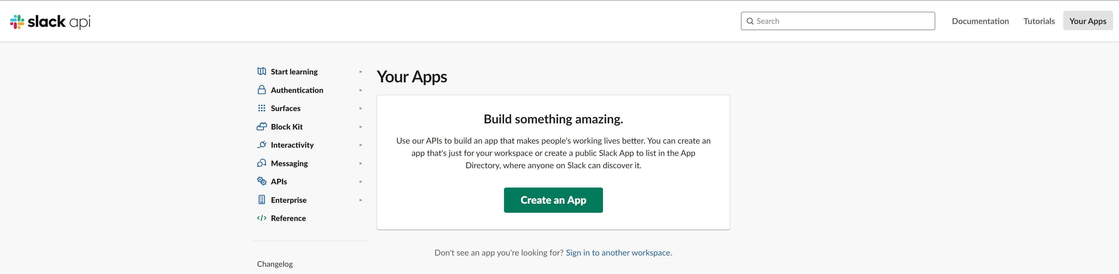 Crear su aplicación de Slack