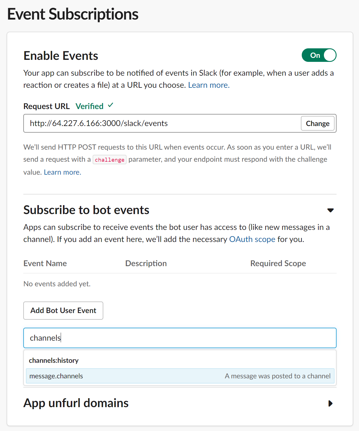 Subscribe to bot events permissions