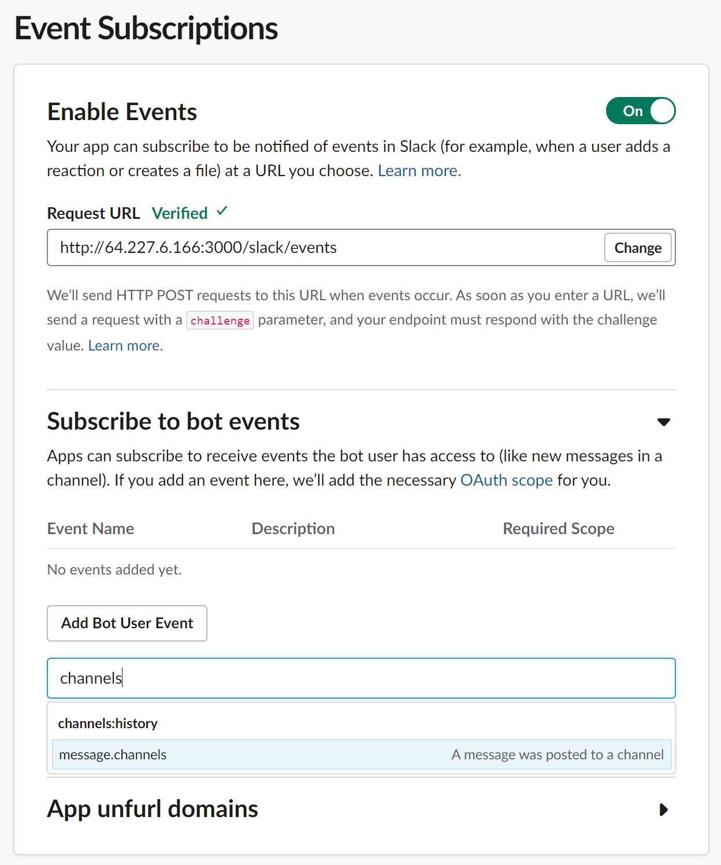 Suscribirse a permisos de eventos bot