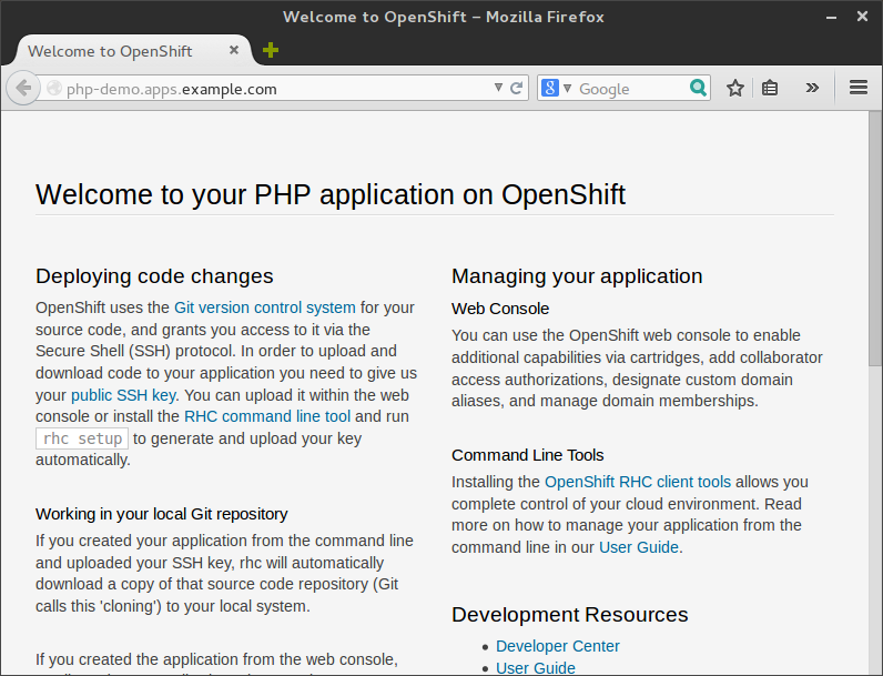 PHP application default page