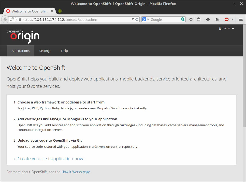 OpenShift welcome page