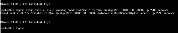 DigitalOcean console login prompt