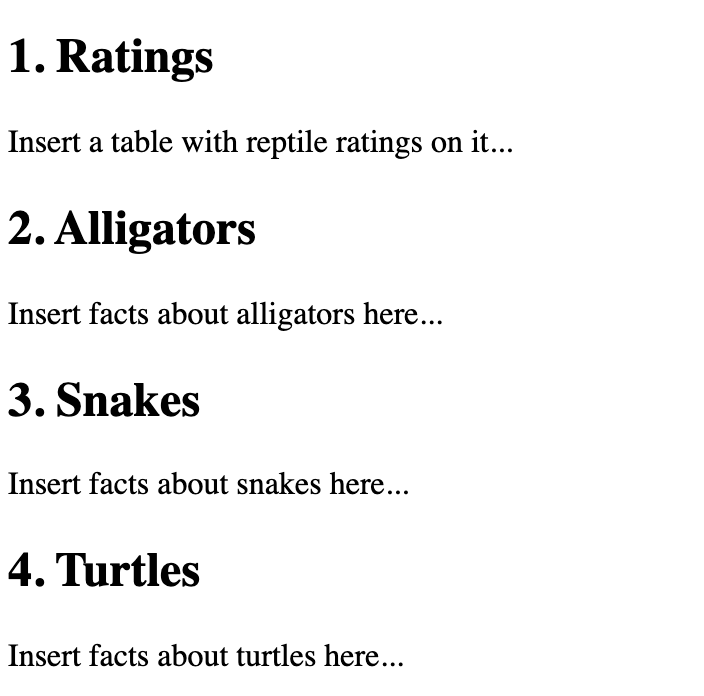 Example HTML with snake section and turtle section switched