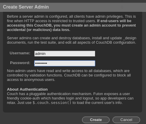 "Enter a username, such as ""admin"", and a password"