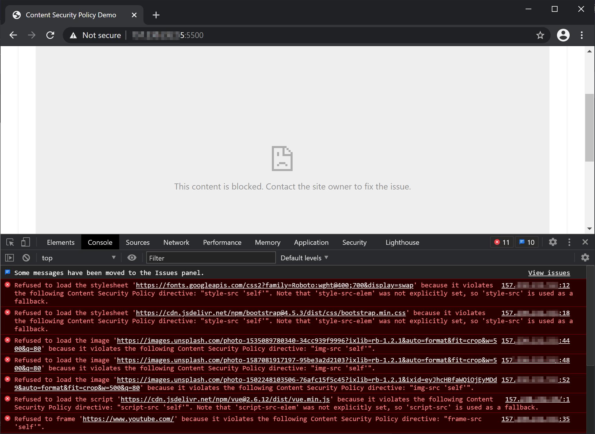 Broken page after adding basic CSP