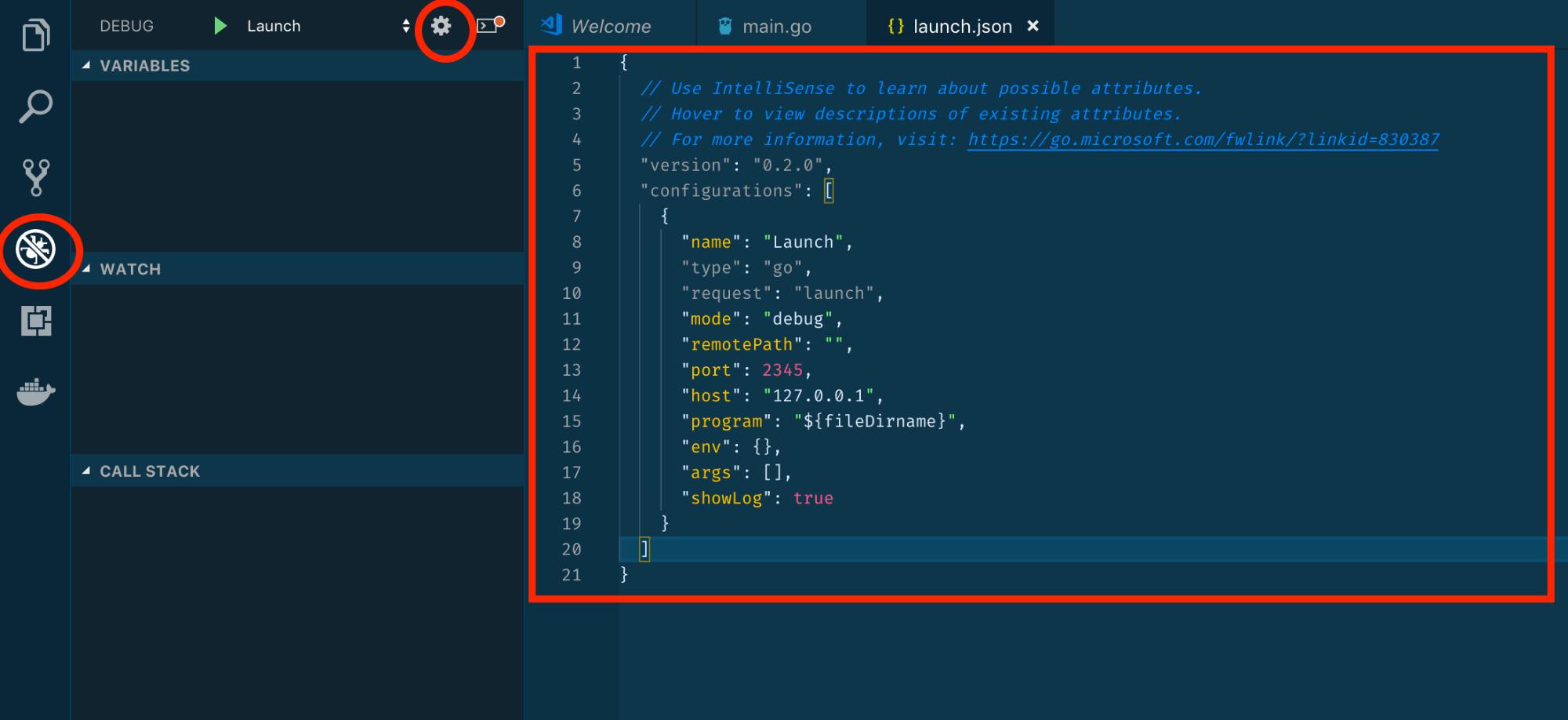 Debug and Settings (Gear) icons