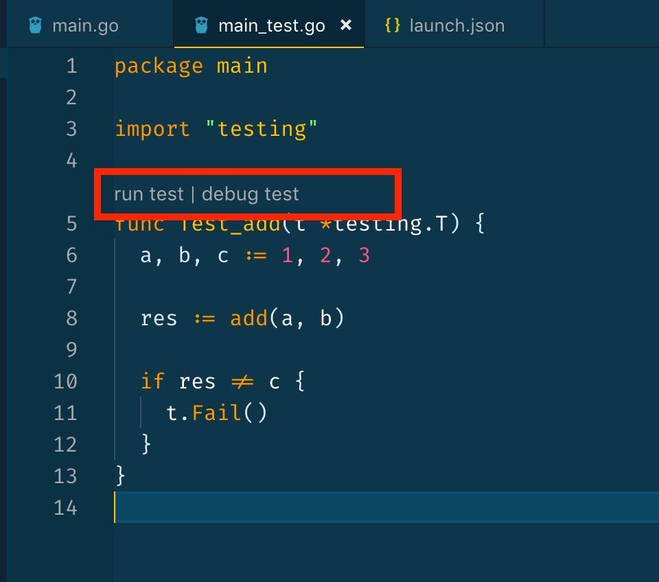 """""""run test"""" and """"debug test"""" options"""