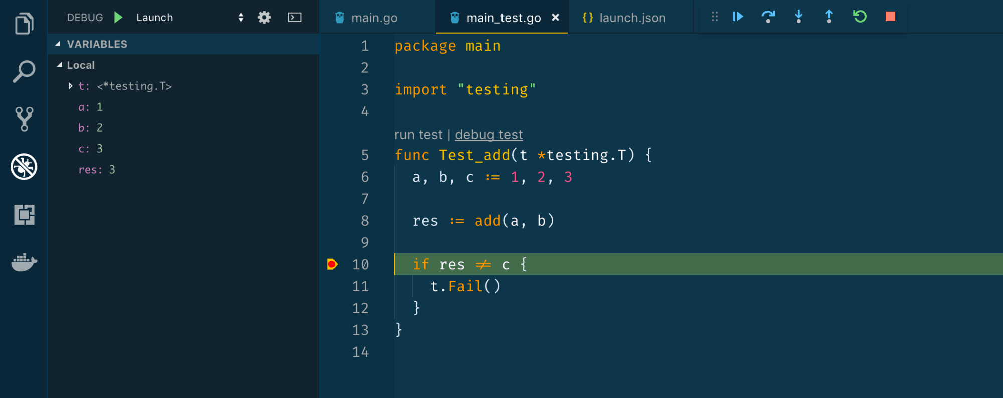 Adding breakpoint on Line 10