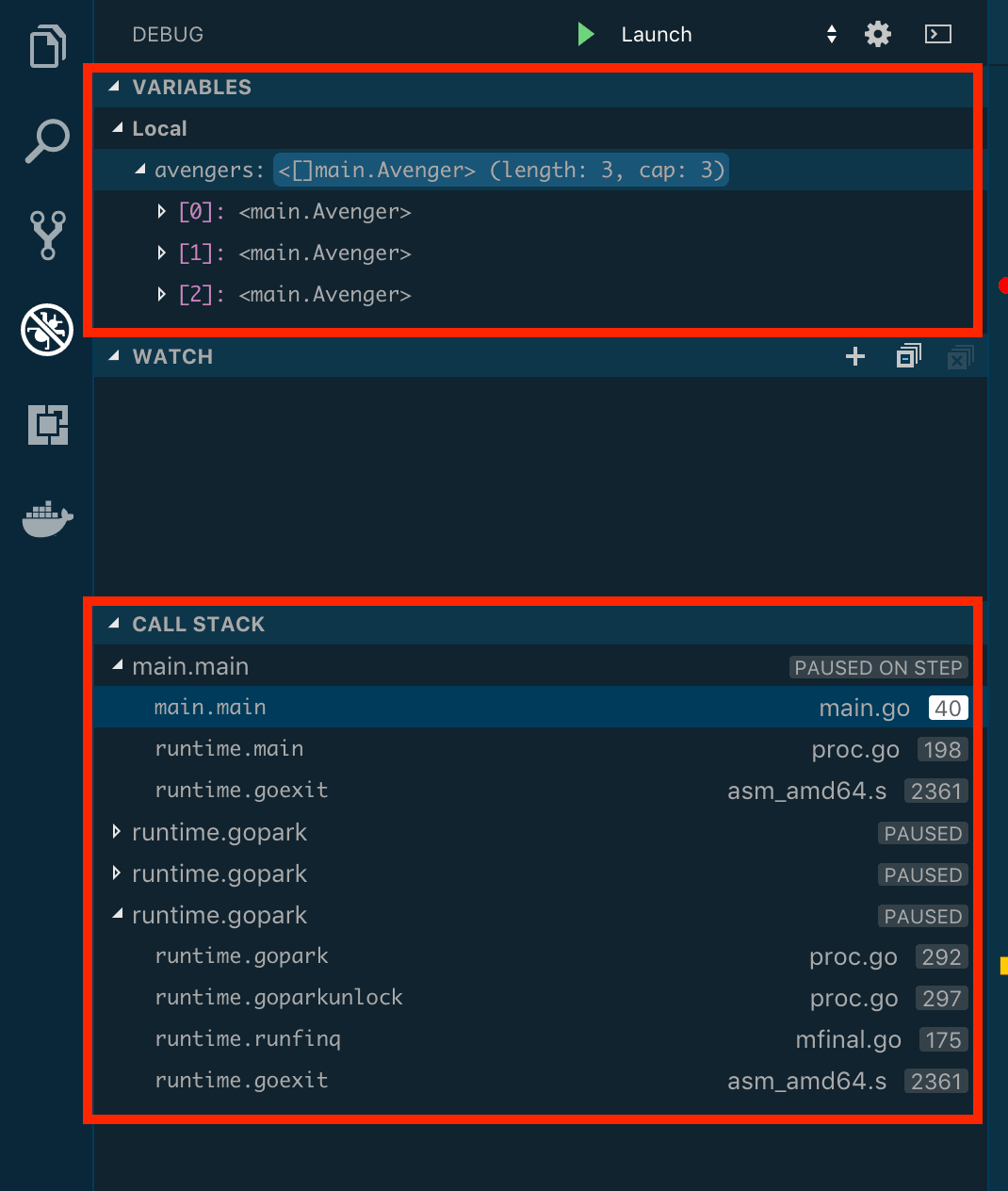 Debug section showing breakpoint state