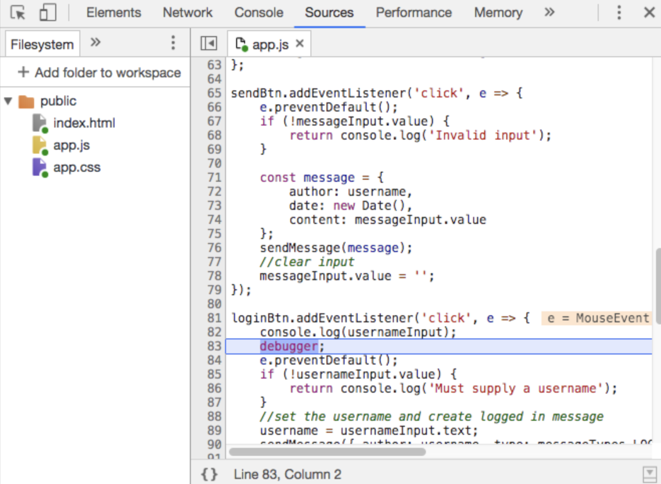 Debugger line highlighted in Chrome DevTools