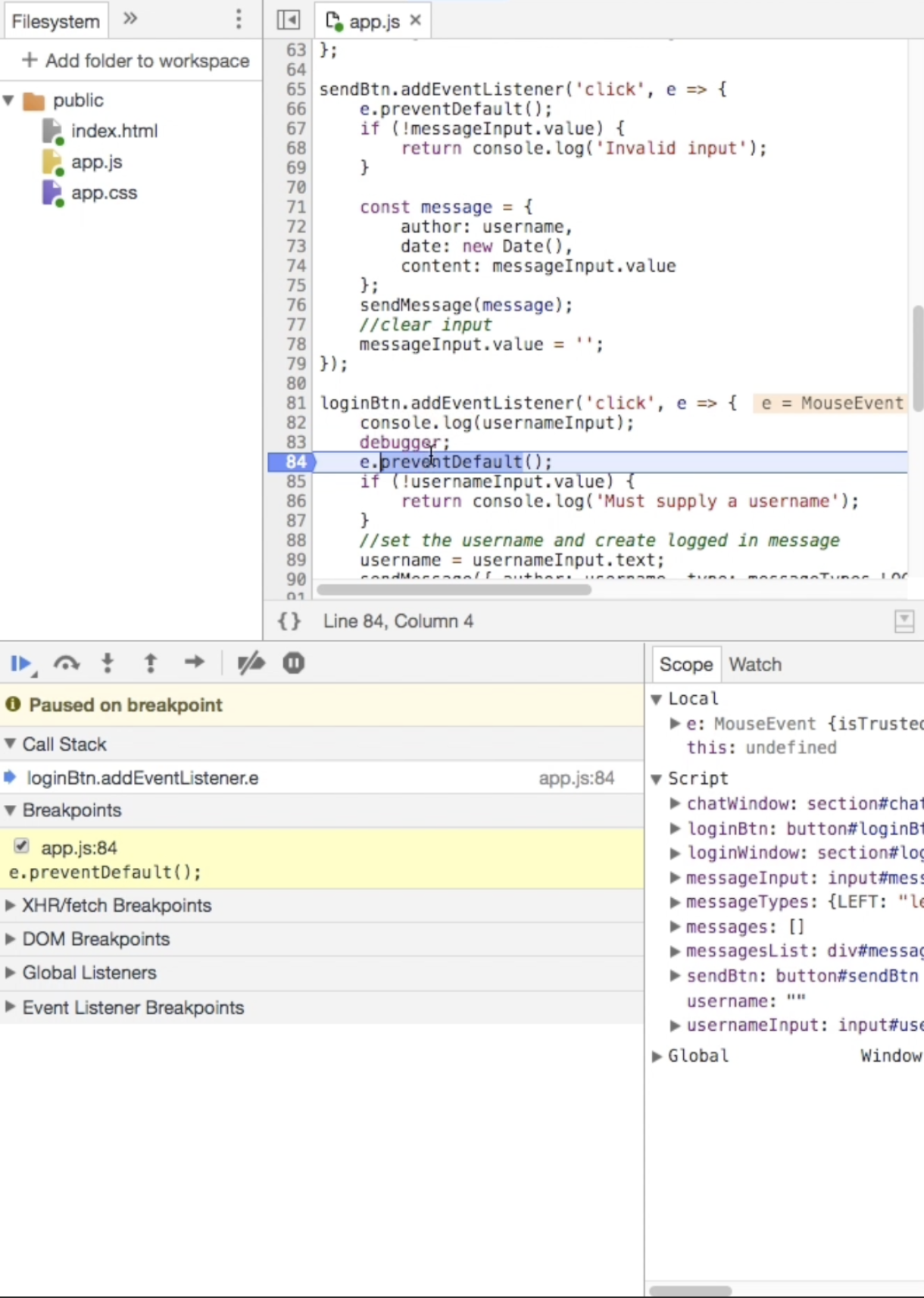 List of Breakpoints in Chrome DevTools