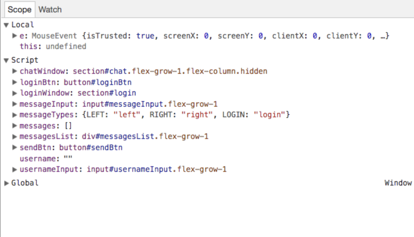 Scripts section of Chrome DevTools
