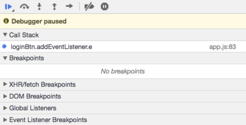 Call stack and breakpoints tabs in Chrome DevTools